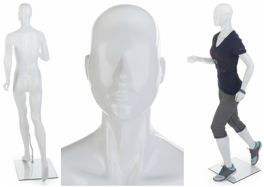 ZM-1103 - Megan - Abstract White Jogging Pose Mannequin