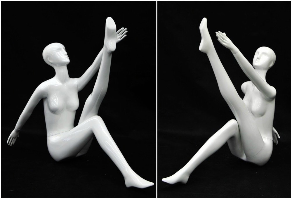 ZM-1112 - Carly - White Abstract Posing Female Mannequin