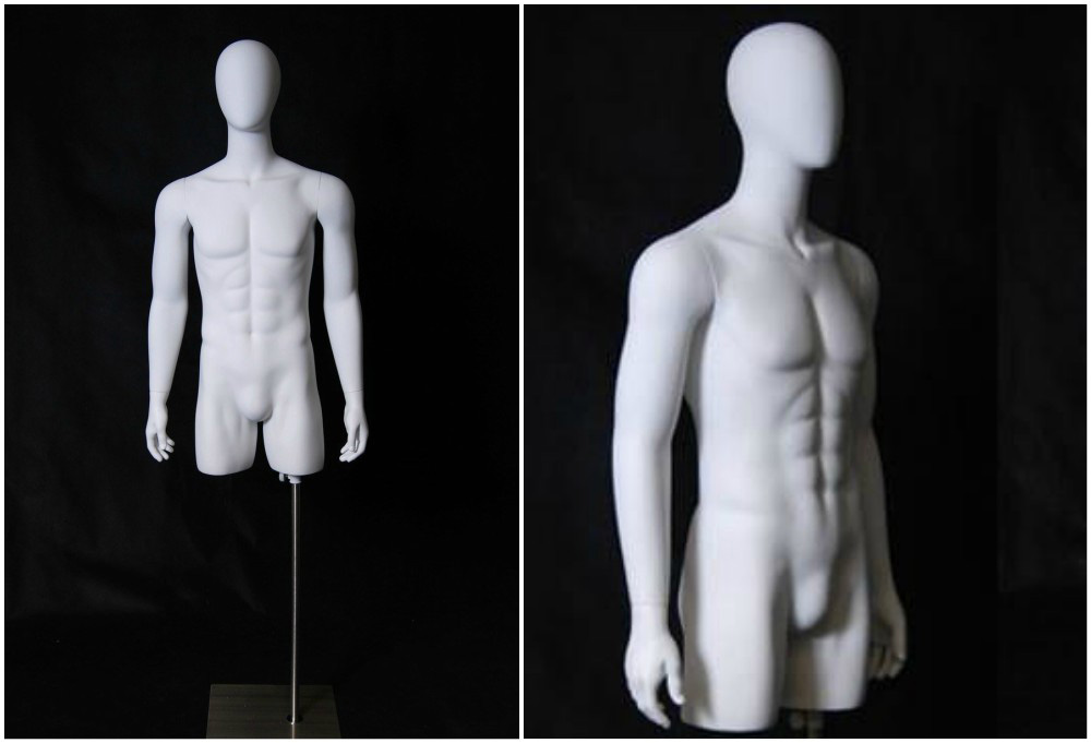 ZM-1115 - Brody - White Abstract Male Mannequin Stand