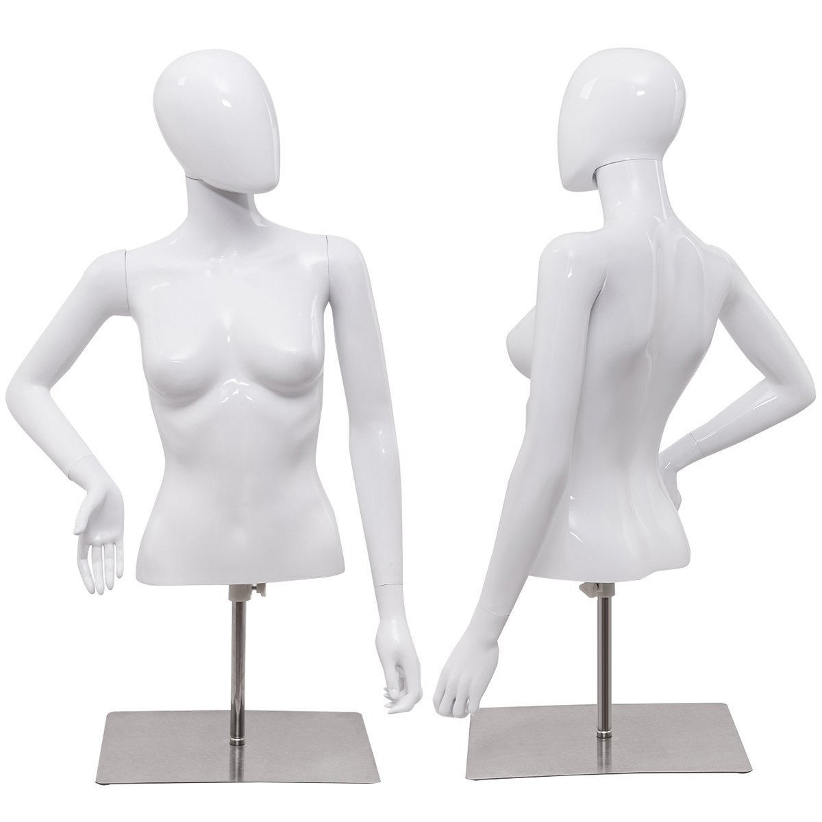ZM-113 - Ava - White Glossy Half Body Female Mannequin Stand