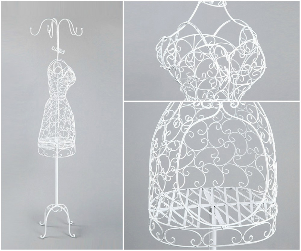 ZM-1812 - Sara - White Metal Wire Dress Form Mannequin