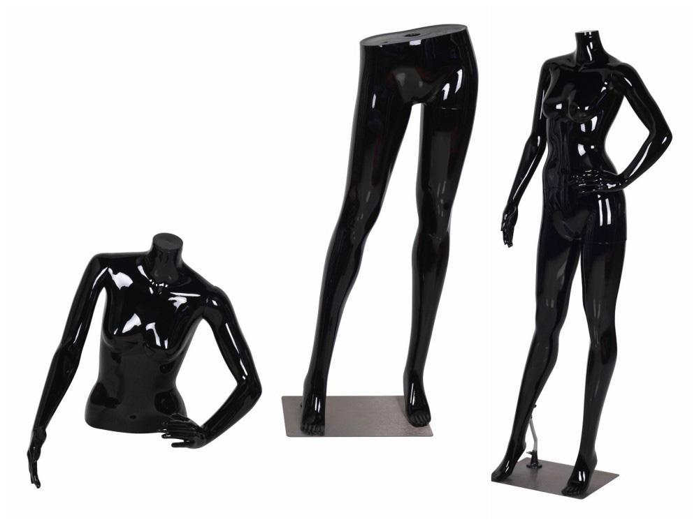 ZM-1903 - Jasmine - Glossy Black Headless Plastic Female Mannequin