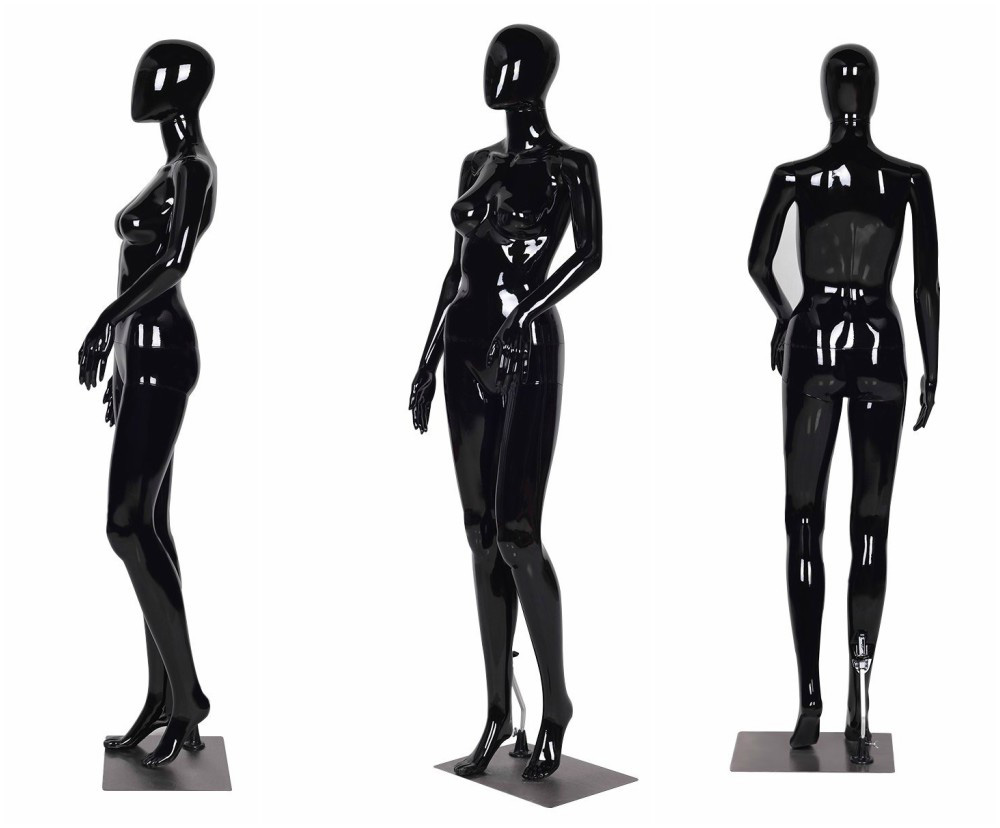 ZM-1907 - Elena - Black Glossy Plastic Female Mannequin