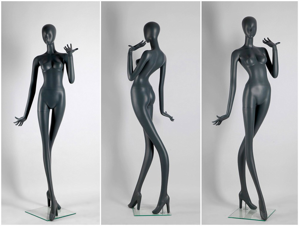 ZM-2004 - Mariah - Abstract Creative Gray Fiberglass Female Mannequin