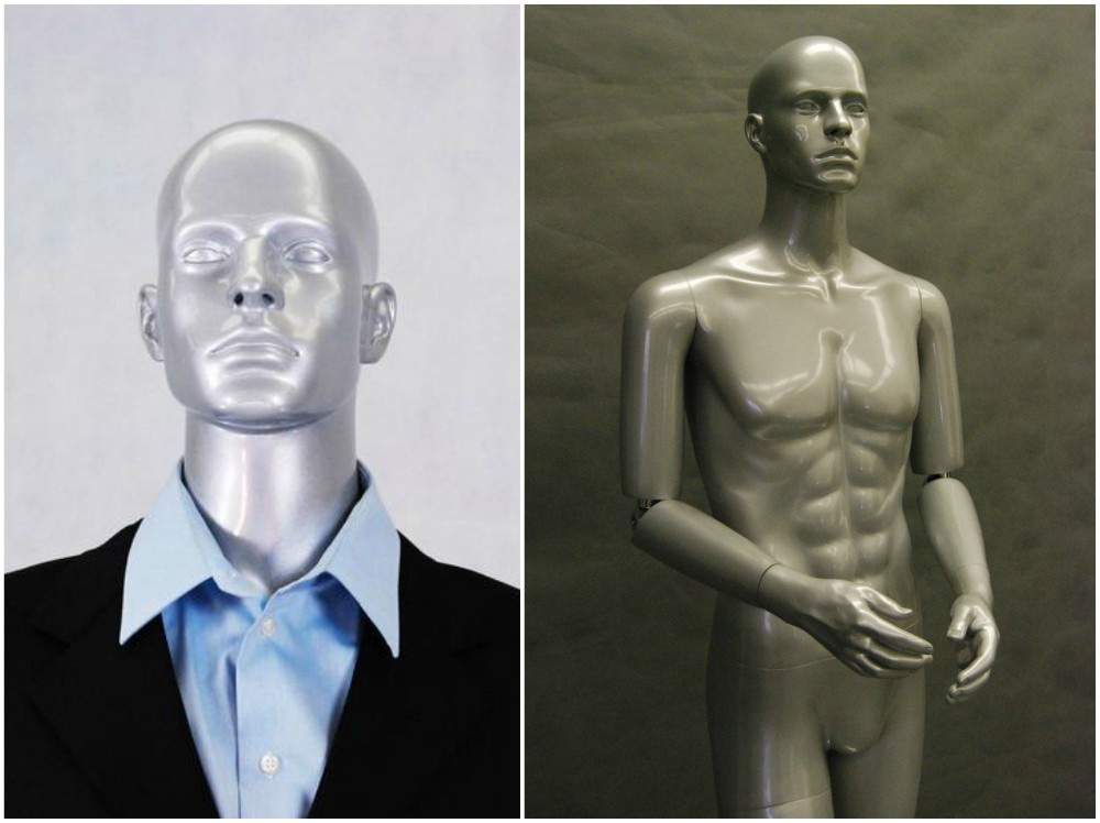 ZM-2015 - Ian - Silver Flexible Hands Fiberglass Male Mannequin