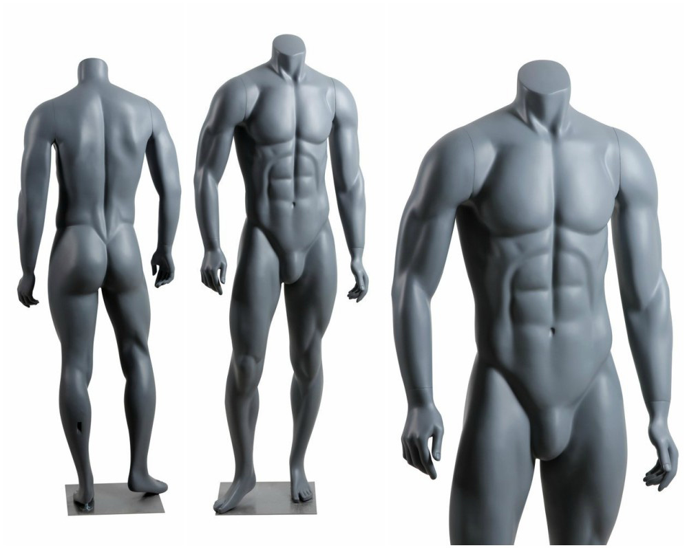 ZM-212 - William - Muscular Realistic Headless Gray Male Mannequin