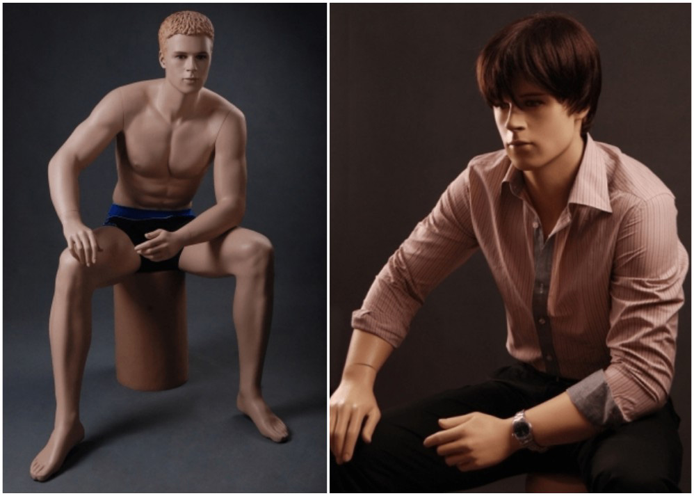 ZM-214 - Liam - Sitting Tan Realistic Male Mannequin