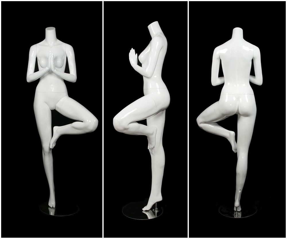 ZM-2602 - Olivia - Abstract White Yoga Pose Retail Mannequin