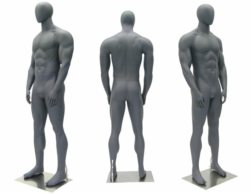 ZM-405 - Chad - Gray Muscular Large Abstract Male Mannequin