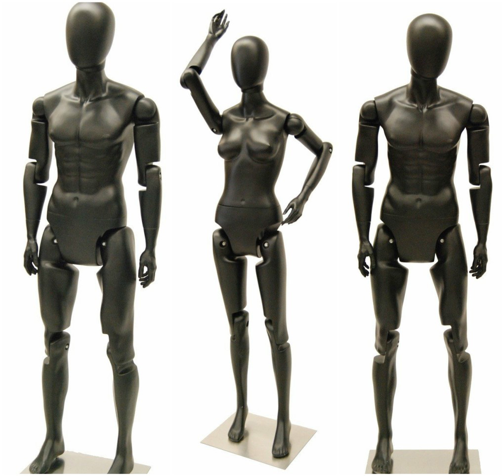 ZM-610 - Tony - Black Fully Poseable Abstract Male Mannequin