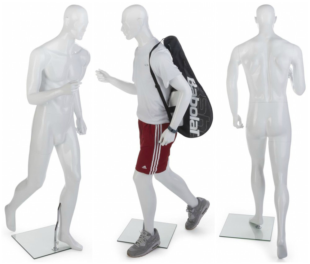 ZM-703 - Easton - Abstract White Muscular Male Jogging Mannequin