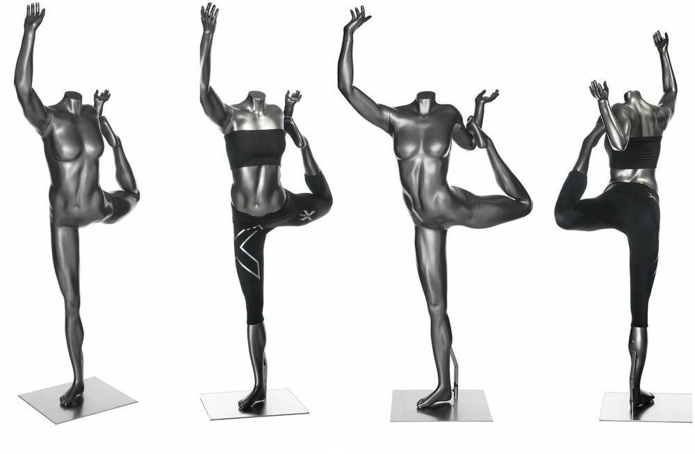 ZM-711 - Aria - Elegant Silver Female Yoga Mannequin