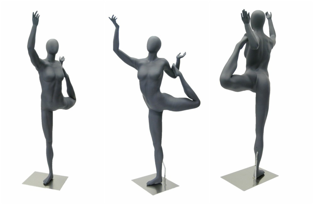 ZM-712 - Lucy - Abstract Gray Female Yoga Mannequin