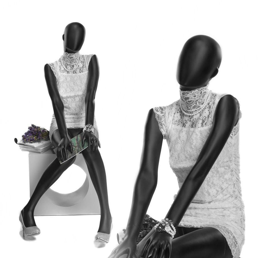 ZM-1004 - Amanda - Matte Black Abstract Sitting Female Mannequin