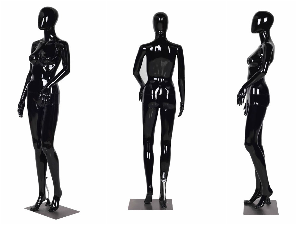 ZM-1006 - Phoebe Elegant Glossy Black Abstract Female Mannequin