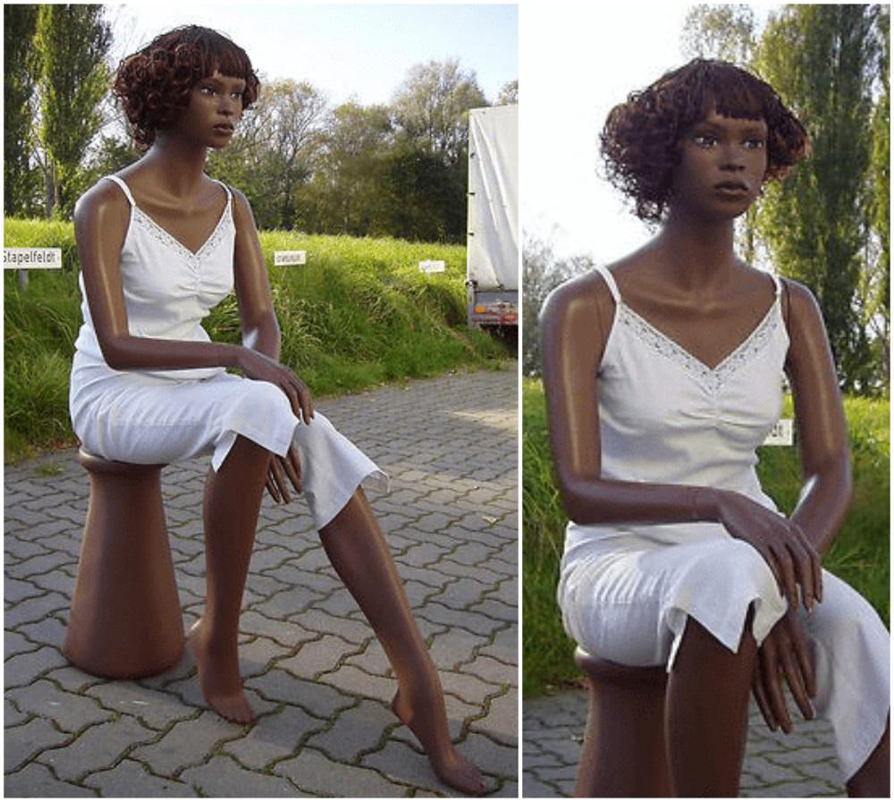 ZM-1007 - Jada - Elegant Sitting African-American Mannequin