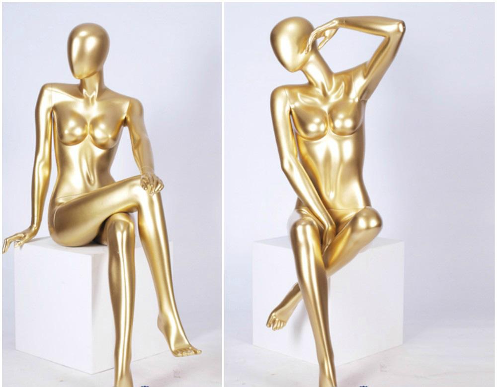 ZM-1306 - Ivanna - Golden Sitting Posing Female Mannequin