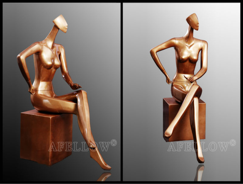 ZM-1314 - Margot - Premium Elegant Golden Sitting Mannequin