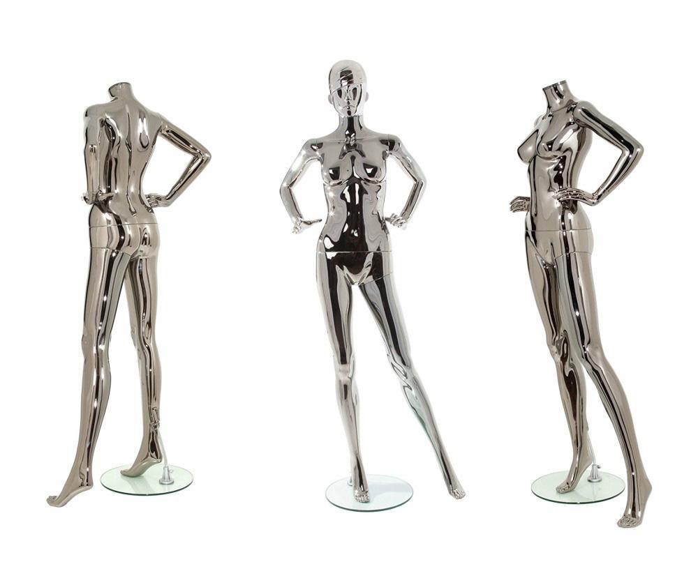 ZM-1401 - Mara - Simple Full Body Standing Chrome Female Mannequin