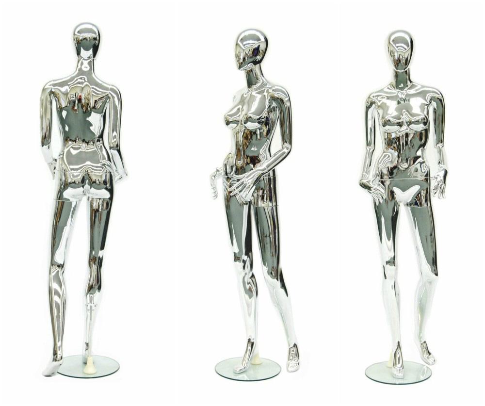 ZM-1402 - Monroe - Simple Standing Full Body Chrome Mannequin