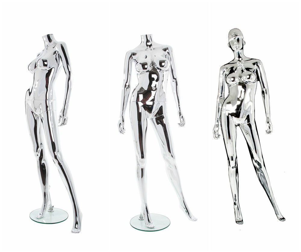 ZM-1405 - Claudia - Supple Reflective Chrome Headless Female Mannequin