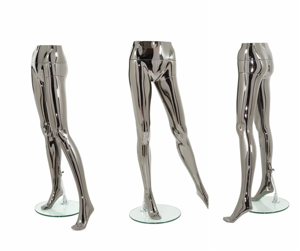 ZM-1407 - Marina - Shiny Chrome Female Mannequin Legs Stand