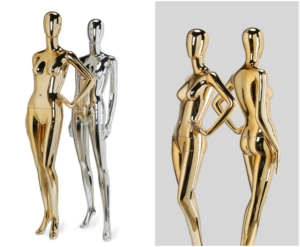 ZM-1409 - Kailyn - Supple Posing Chrome & Gold Mannequin