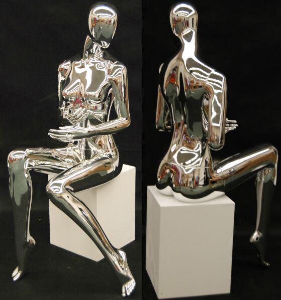 ZM-1413 - Kynlee - Sitting Posing Female Chrome Mannequin