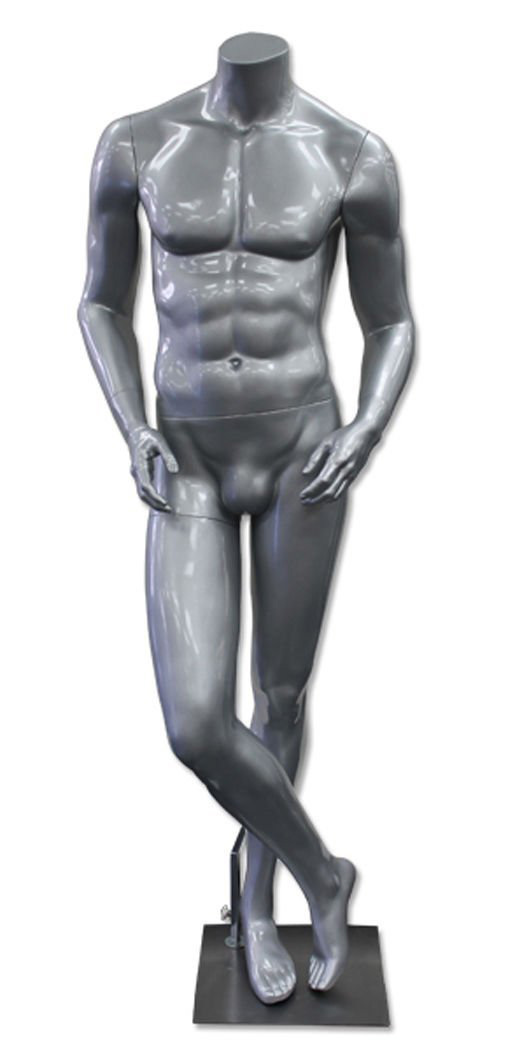 ZM-1502 - Jax - Muscular Silver Male Headless Mannequin
