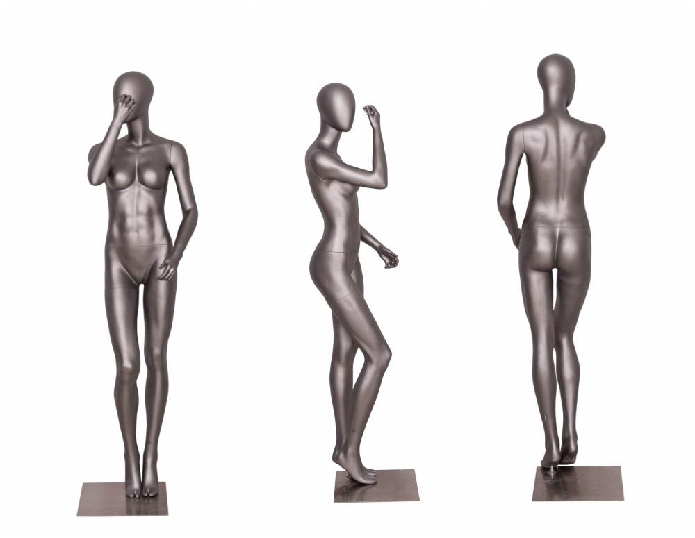 ZM-1507 - Sandra - Classic Posing Female Silver Mannequin