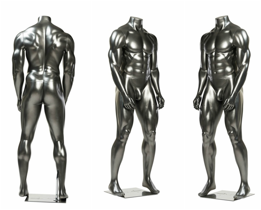 ZM-1515 - Matteo - Silver Muscular Body Building Headless Male Mannequin