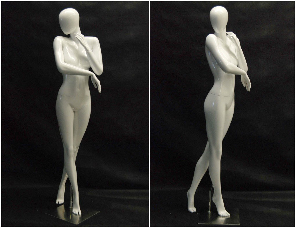 ZM-415 - Ellie - Abstract White Glossy Posing Female Mannequin