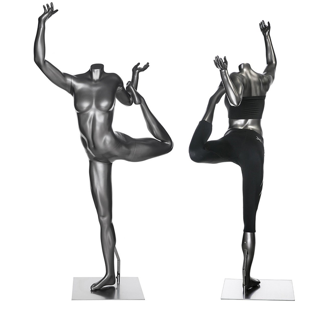 ZM-502 - Eli - Yoga Posing Silver Gray Female Headless Mannequin