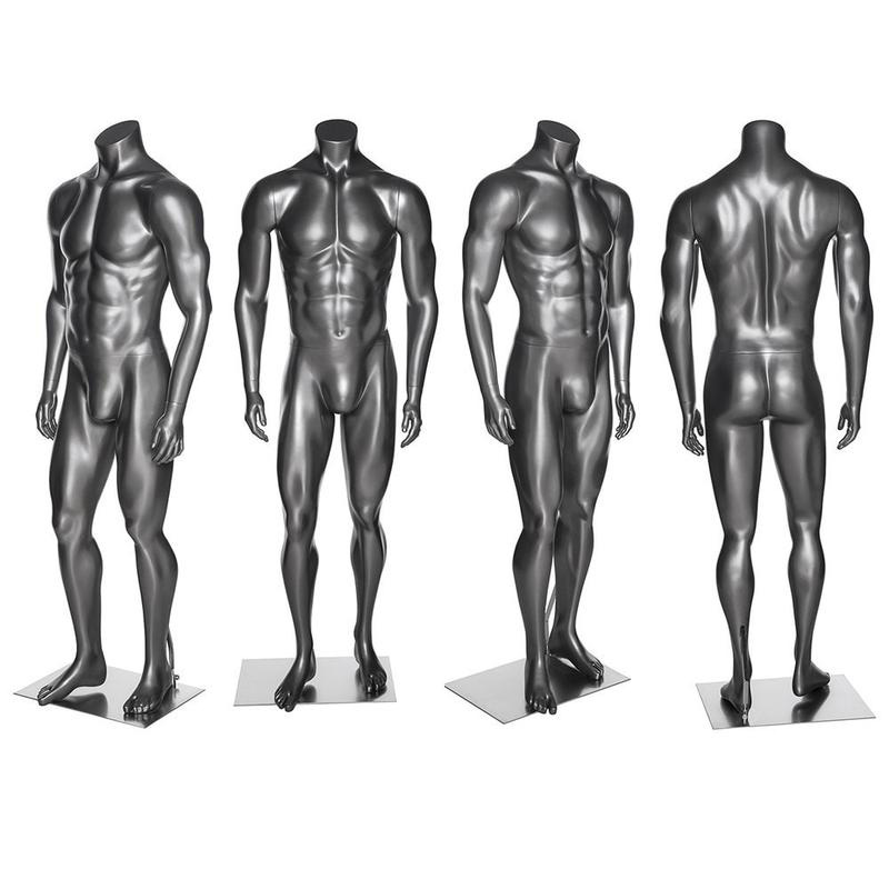 ZM-503 - Landon - Silver Gray Headless Male Mannequin