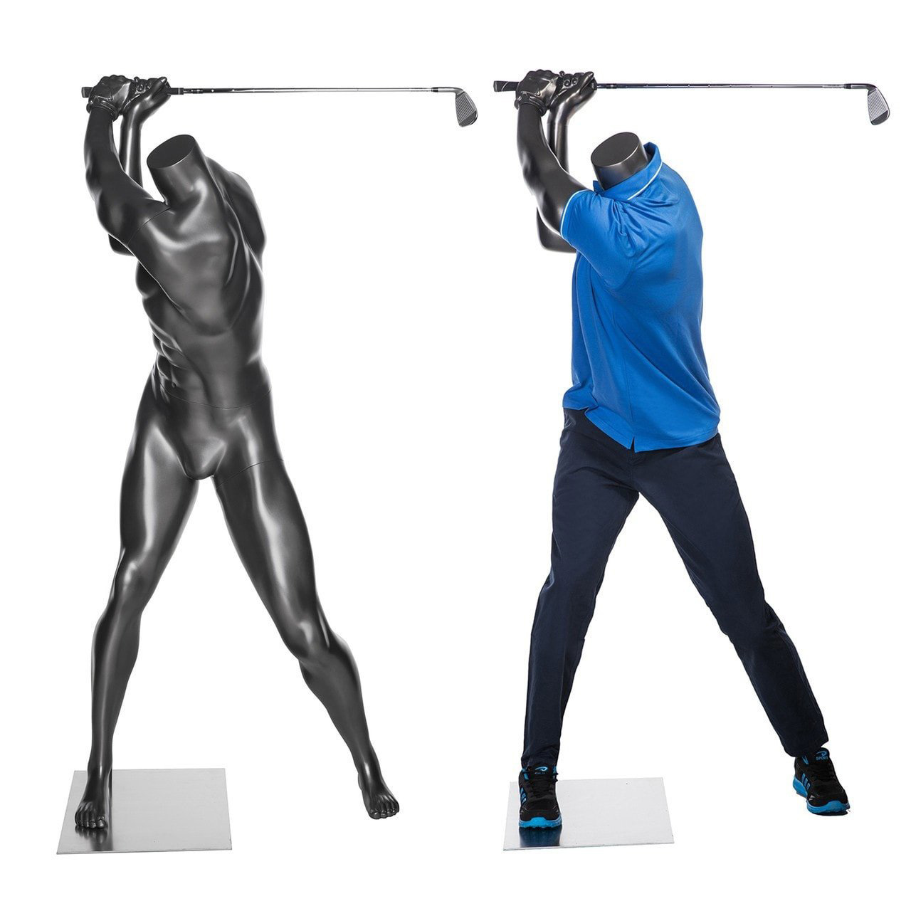ZM-509 - Taylor - Abstract Headless Gray Golfing Male Mannequin
