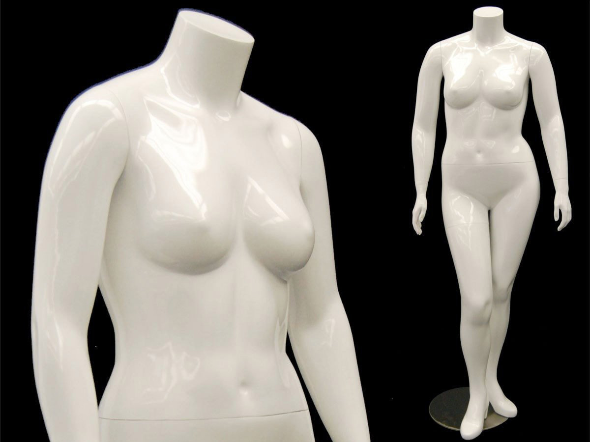 ZM-511 -Annabelle - Plus Size Glossy White Female Headless Mannequin