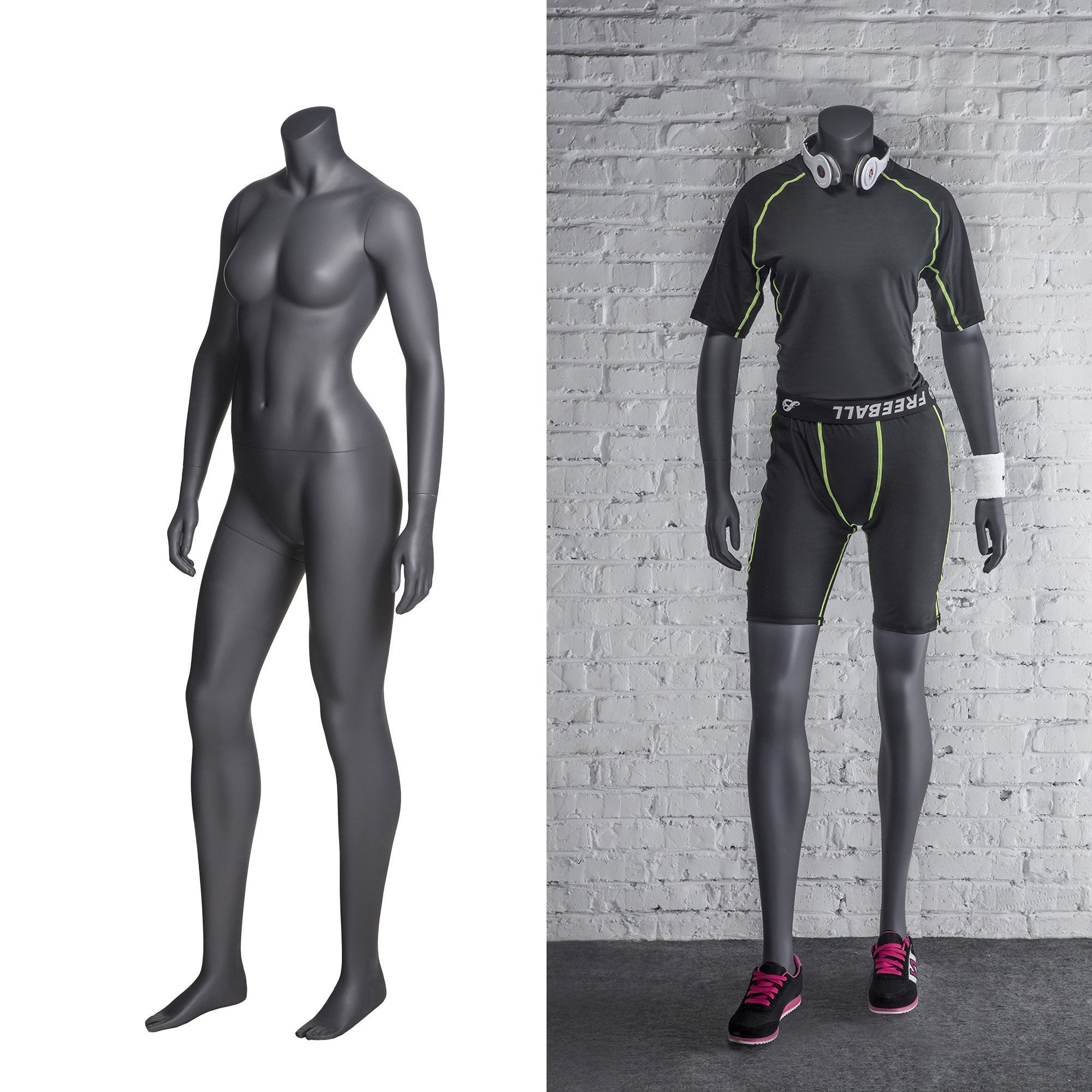 ZM-513 - Eva - Gray Supple Athletic Female Headless Mannequin