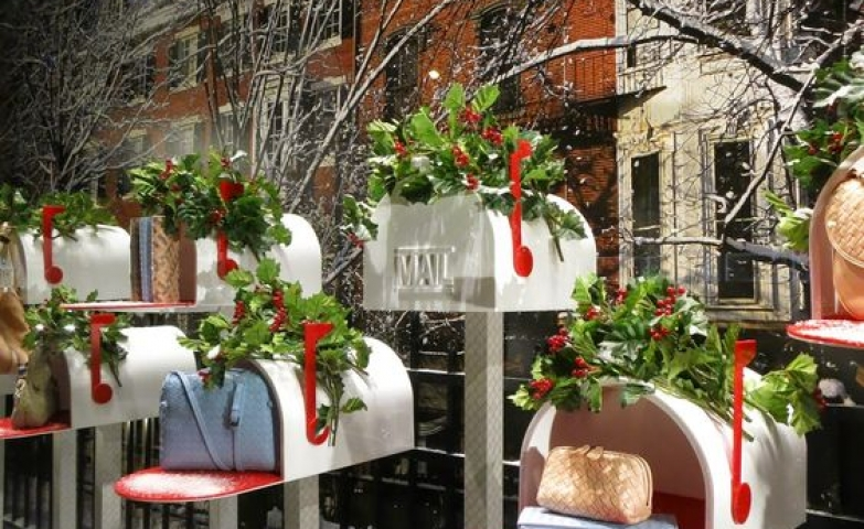 Incredibly one of a kind window display with purses exposed on mail boxes seen at Bottega Veneta in New York.