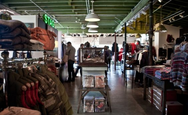 Image from the inside of a store in Austin, Texas. Simple display with an industrial look.