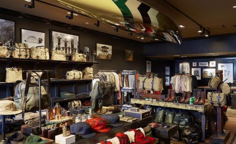 Interior store display from the Filson Store in Dallas, Texas. Very masculine design.