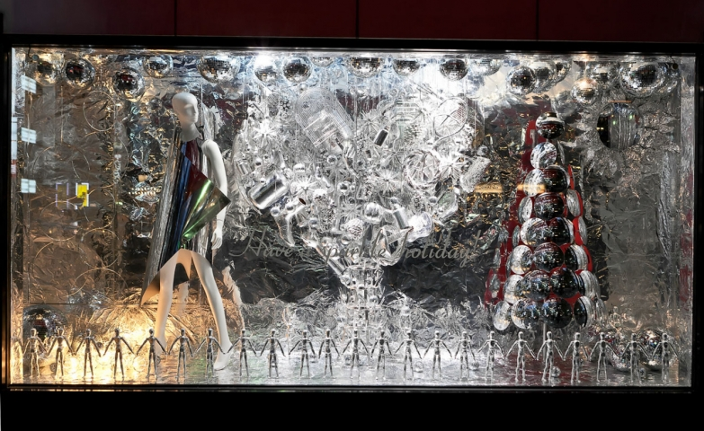 This Christmas Window Display is amazing and different than others, as it is all so futuristic with iced silvery elements.