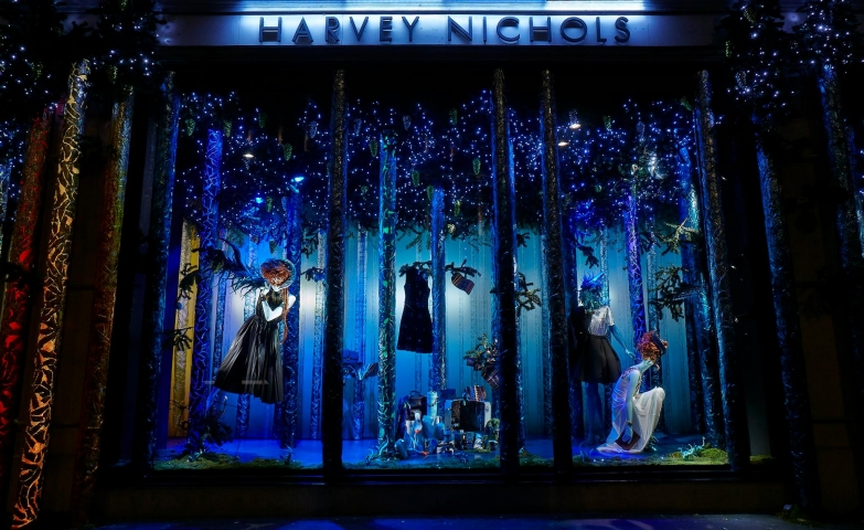 Be in the Christmas spirit like Harvey Nichols has done, decorating the window display with blue lights.