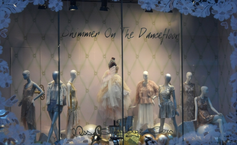 Miss Selfridges is taking you to the dance floor in the Christmas night with this adorable dresses, presented in the window display.
