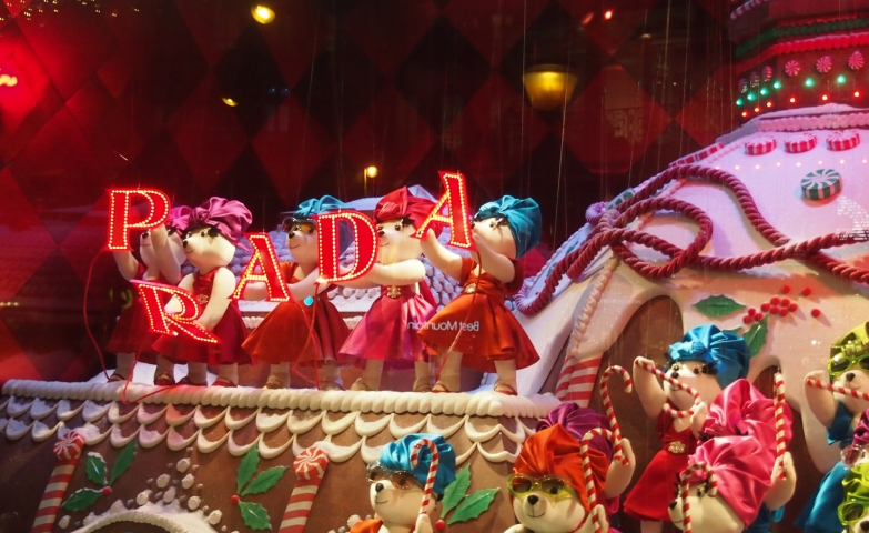 Prada is going to have a show for Christmas, in their window display, with cute polar bear dolls dressed in colorful dresses.