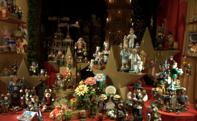 So many toys in this Christmas window display, waiting to arrive at the good kids.