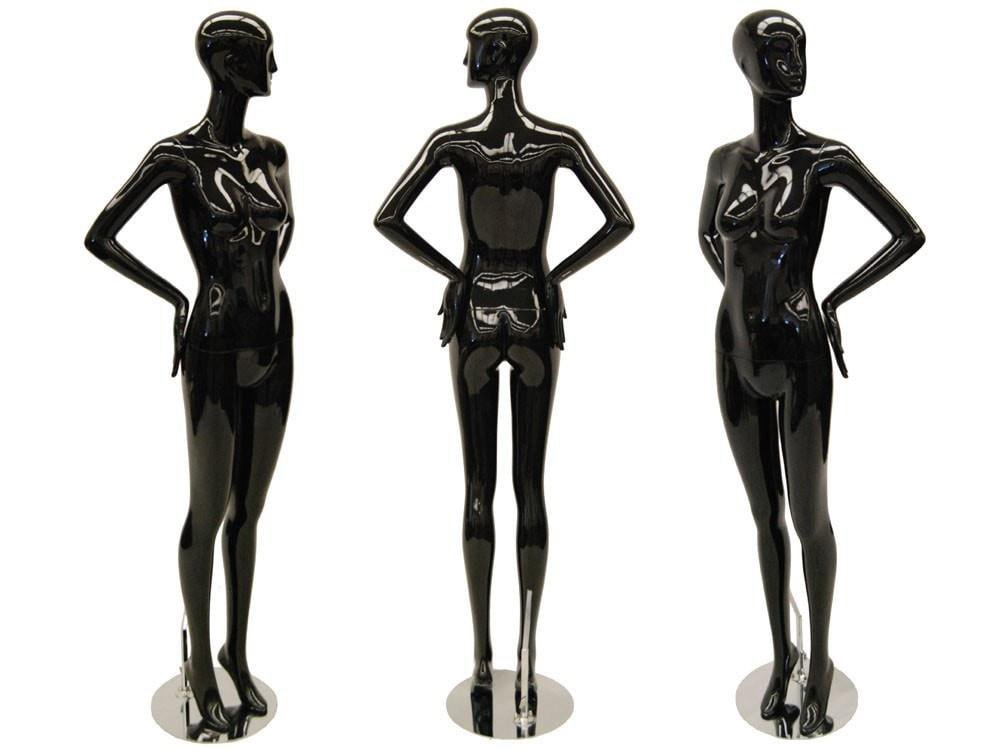 ZM-2913 - Kylee- Glossy Black Abstract Female Tall Mannequin