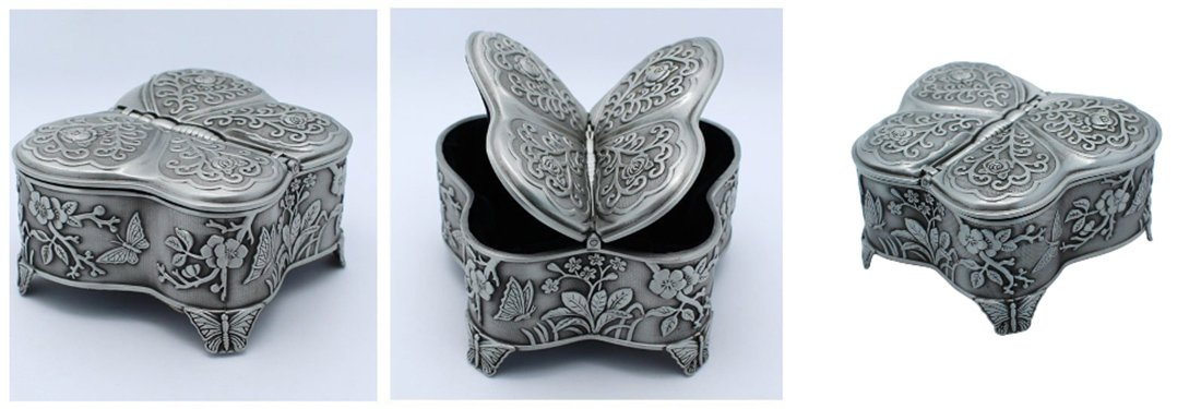 Silver Color Decorated Jewellery Trinket Box Lined With Blue Velveteen #10